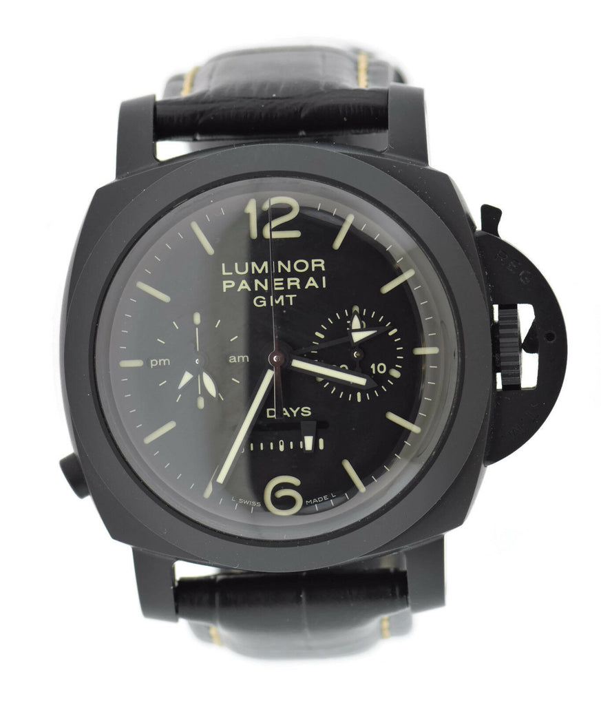 Panerai Luminor GMT 8 Day Chronograph Black Knight Ceramic Watch PAM317