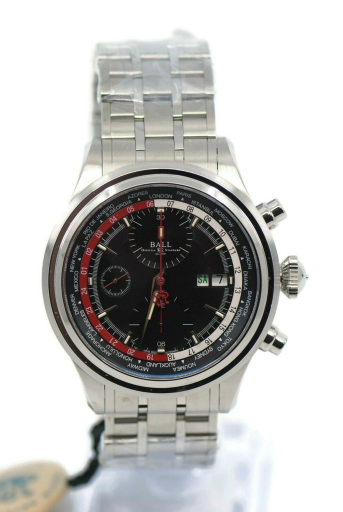 Ball Trainmaster Worldtime Chronograph Stainless Steel Watch CM2052D-S1J-BKRD