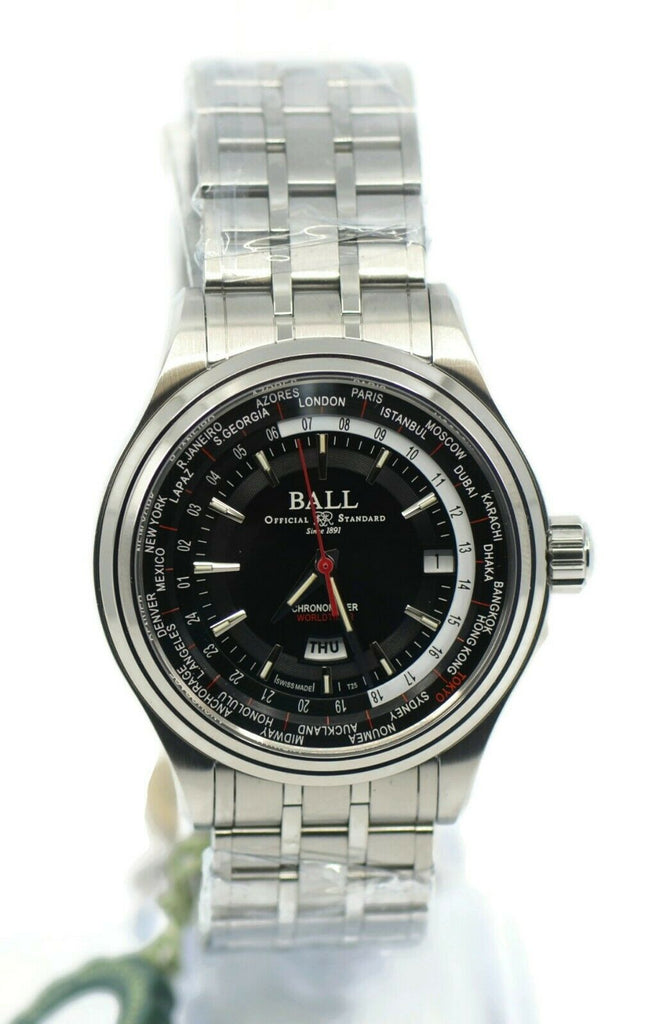 Ball Trainmaster World Time Stainless Steel Watch GM2020D-S3CJ-BK