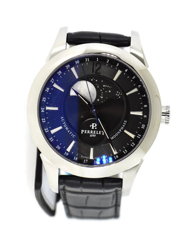 Perrelet Moonphase Black Dial Stainless Steel Watch A1039/7