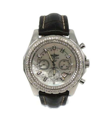 Breitling Bentley Motors Diamond Chronograph Stainless Steel Watch A25362