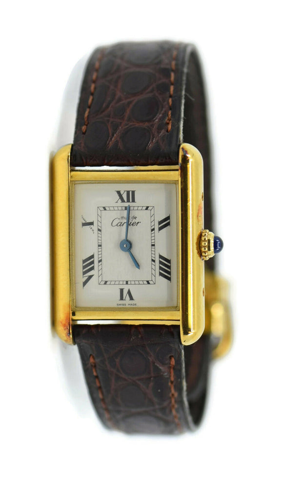 Cartier Tank Vermeil Gold Plated Sterling Silver Watch 2415