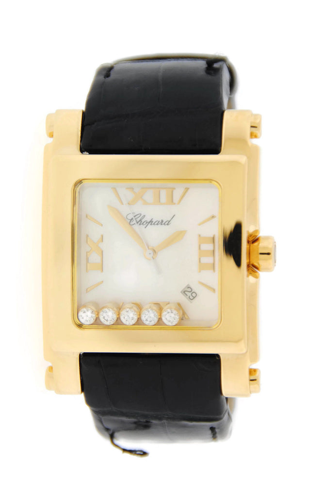 Chopard Happy Sport Square XL 18K Yellow Gold Watch 28/3570 Pre Owned