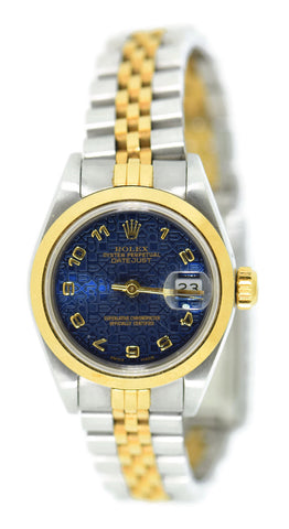 Rolex Datejust Anniversary Blue Dial 18K/Stainless Steel Watch 69163 Pre Owned