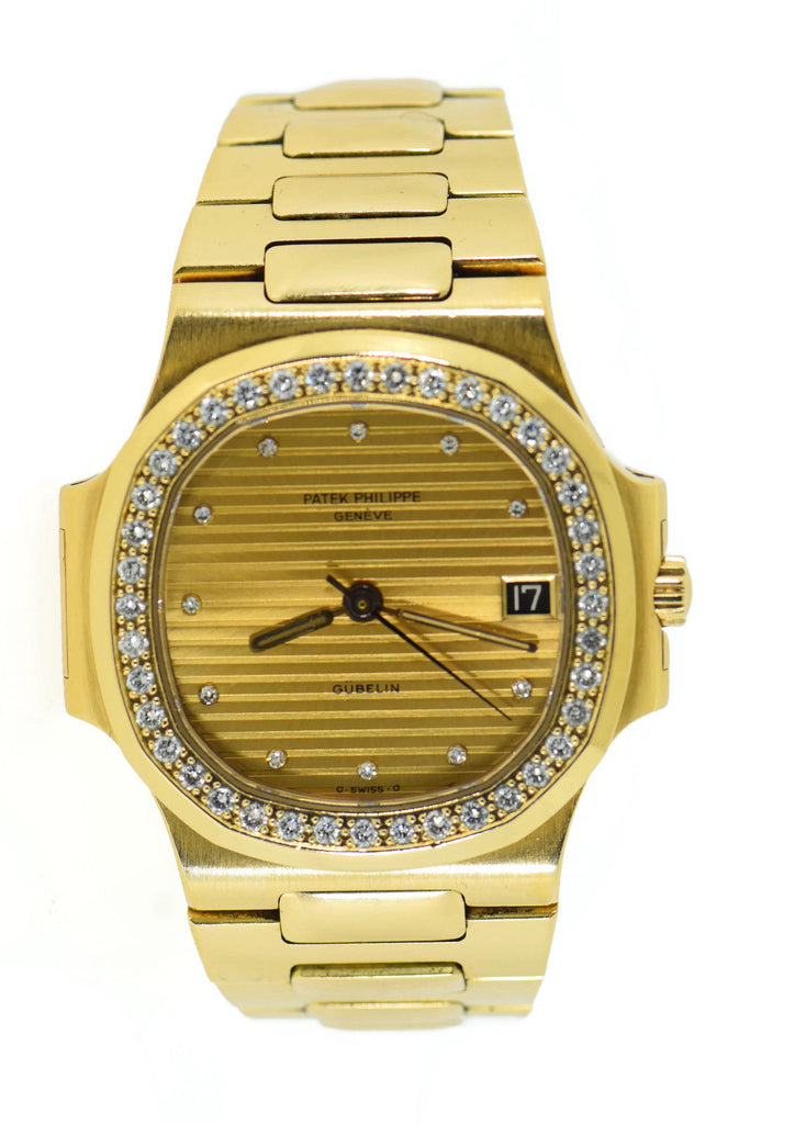 Patek Philippe Nautilus Factory Diamond Gubelin 18K Yellow Gold Watch 3800/3 Pre Owned