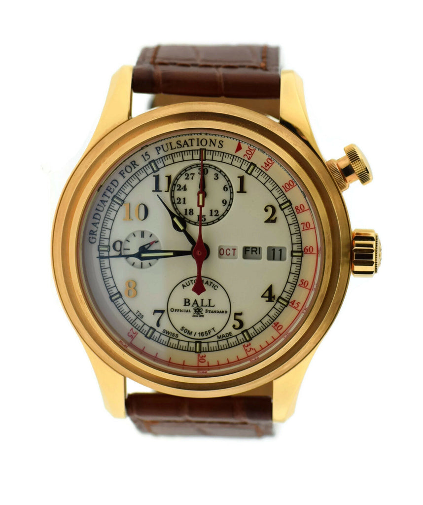 Ball Trainmaster Doctor's Chronograph 18K Rose Gold Watch CM1032D