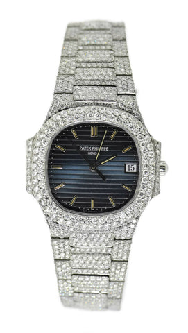 Patek Philippe Nautilus 20 CTW Diamond Blue Dial Stainless Steel Watch 3900/1