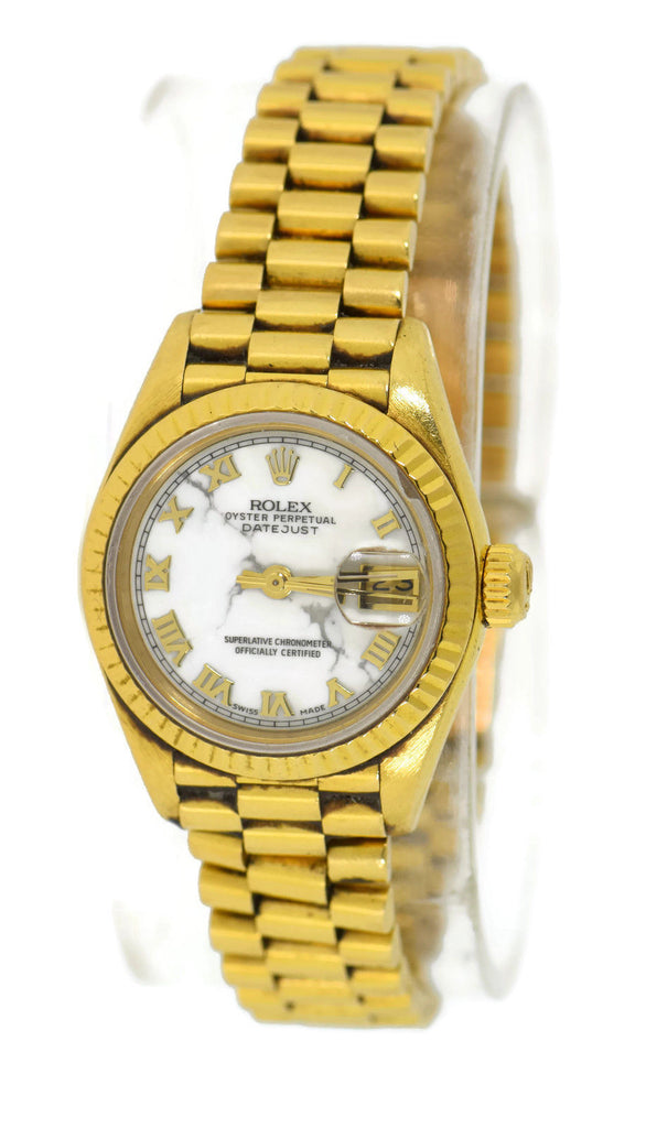 Rolex Ladies President Marble Dial 18K Yellow Gold Watch 69178 Pre Owned
