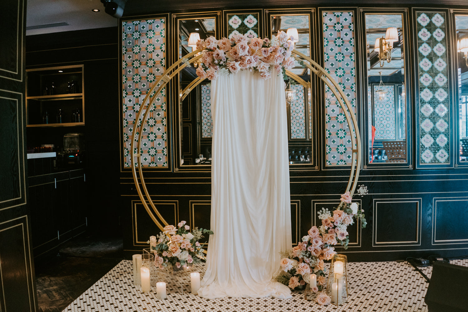 Large gold metal circle arch as seen on Pinterest as backdrop for surprise proposal decor in Singapore restaurant