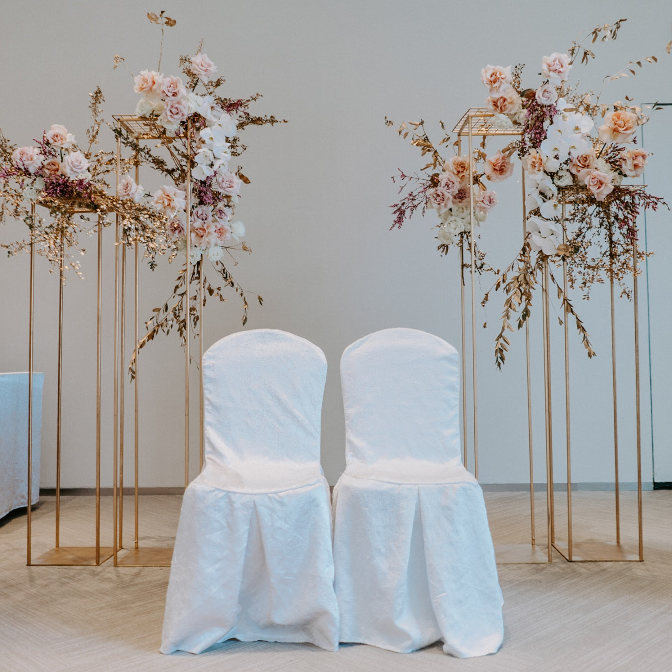 Wedding chair decorations with white chair covers for wedding banquet at Sentosa aquarium wedding