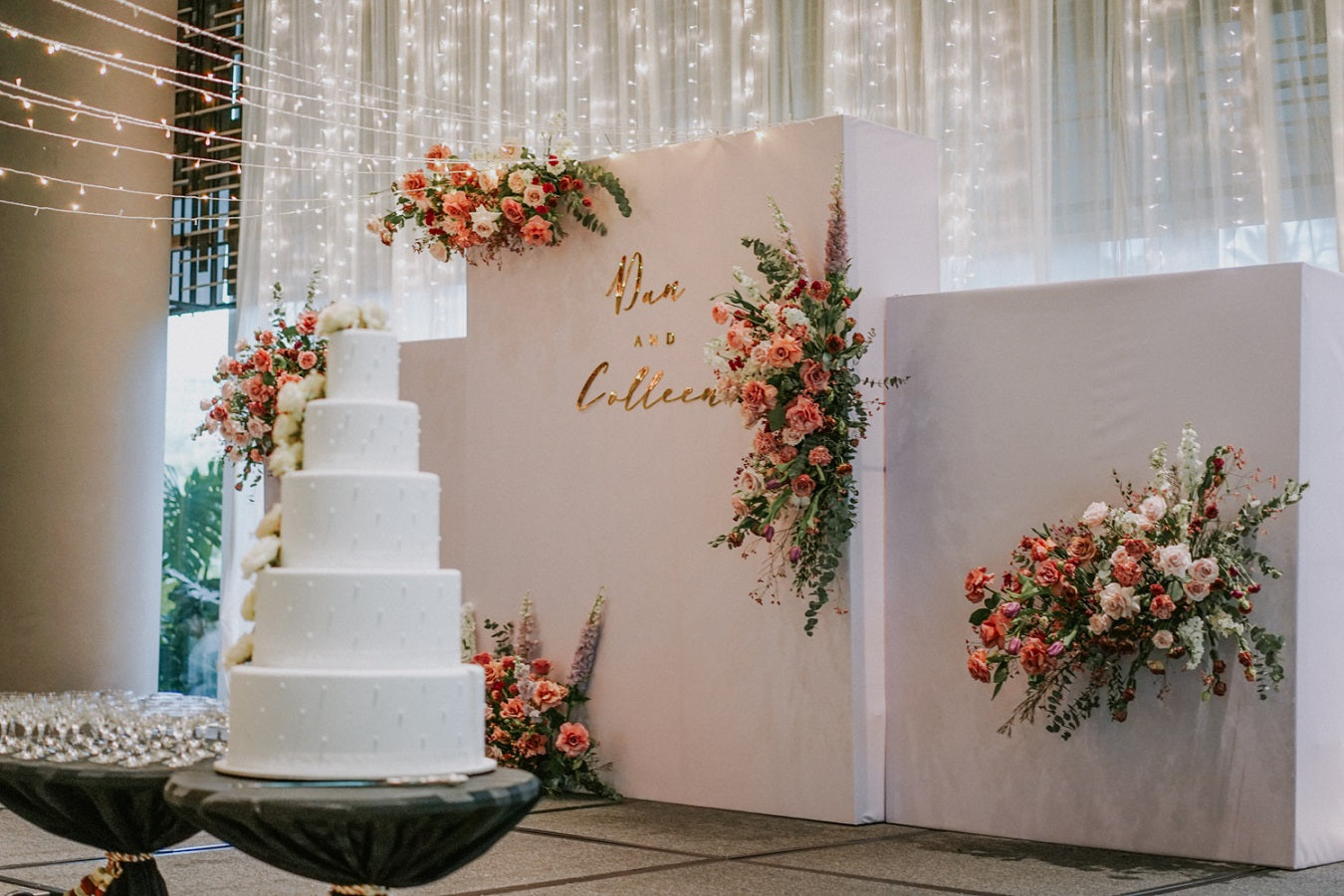 Enchanting backdrop concept at PARKROYAL COLLECTION Pickering for a homely wedding reception