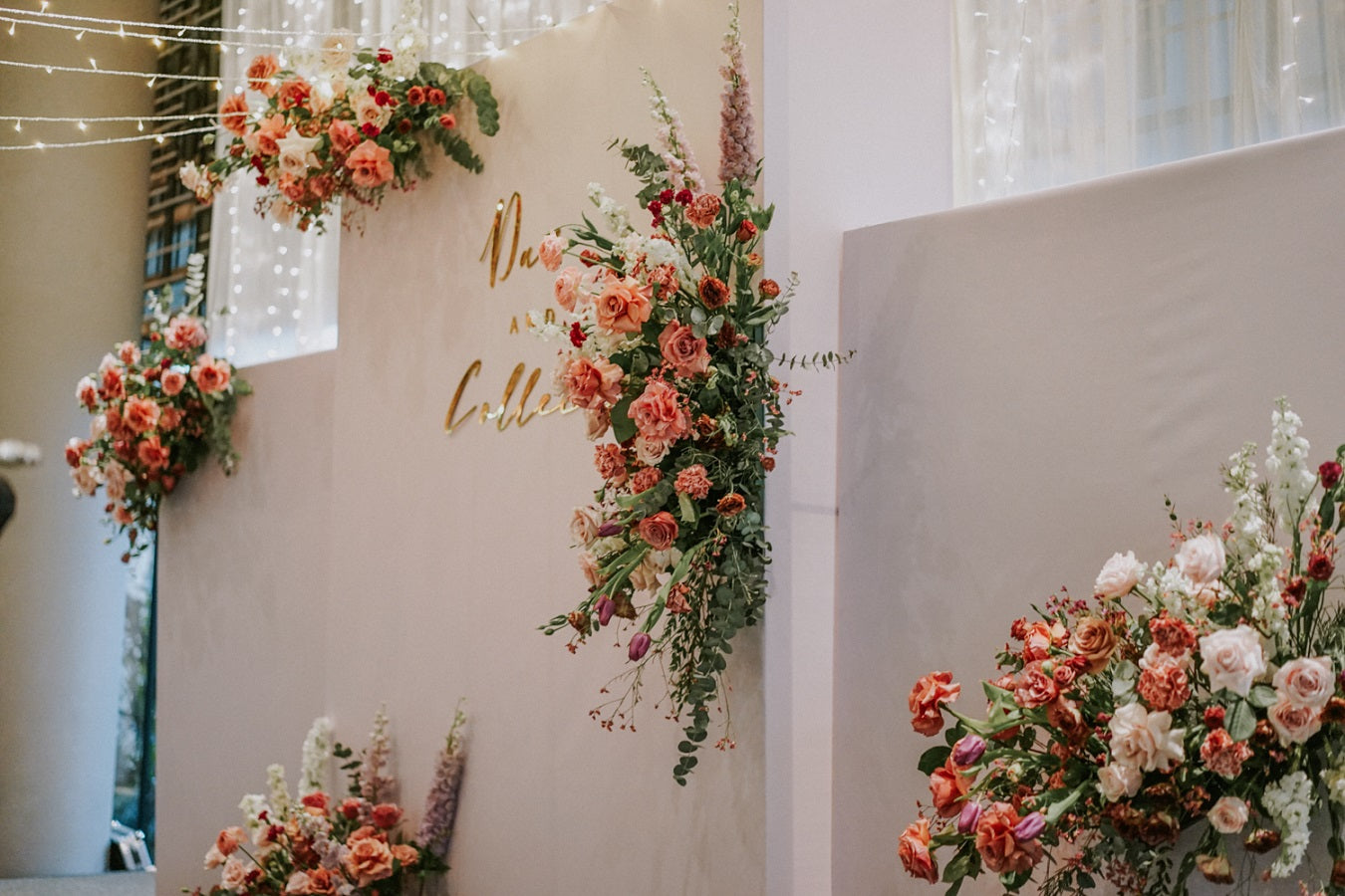 PARKROYAL COLLECTION on Pickering solemnisation and wedding ceremony with fairylights and custom frame wedding backdrop