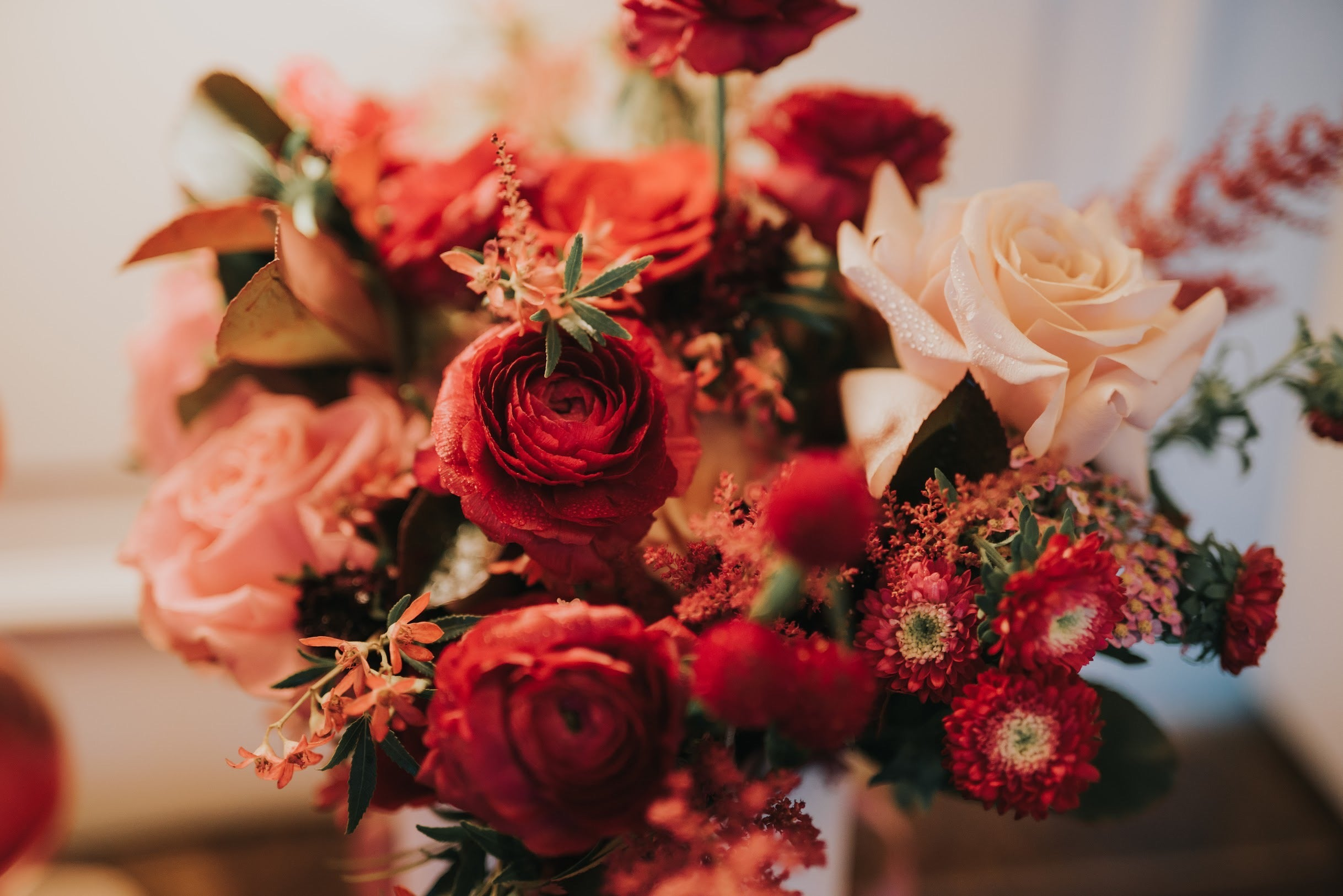 Close up of crimson bridal bouquet for church wedding ceremony with ranunculus and pink roses