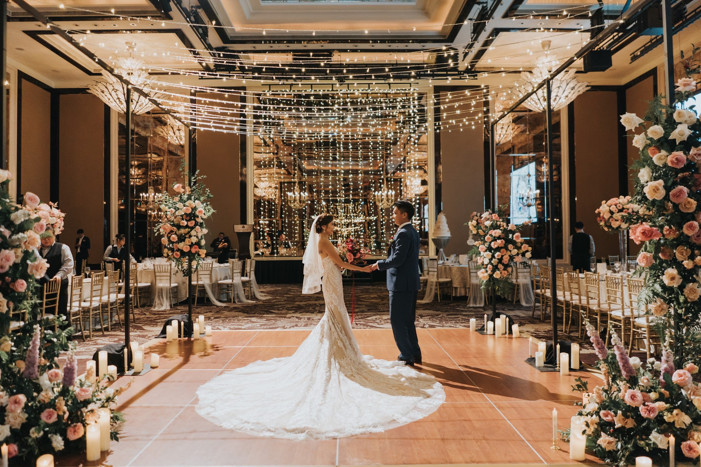 Unique dancefloor structure at St Regis ballroom Marriott hotel for couple's first dance at their dinner ceremony