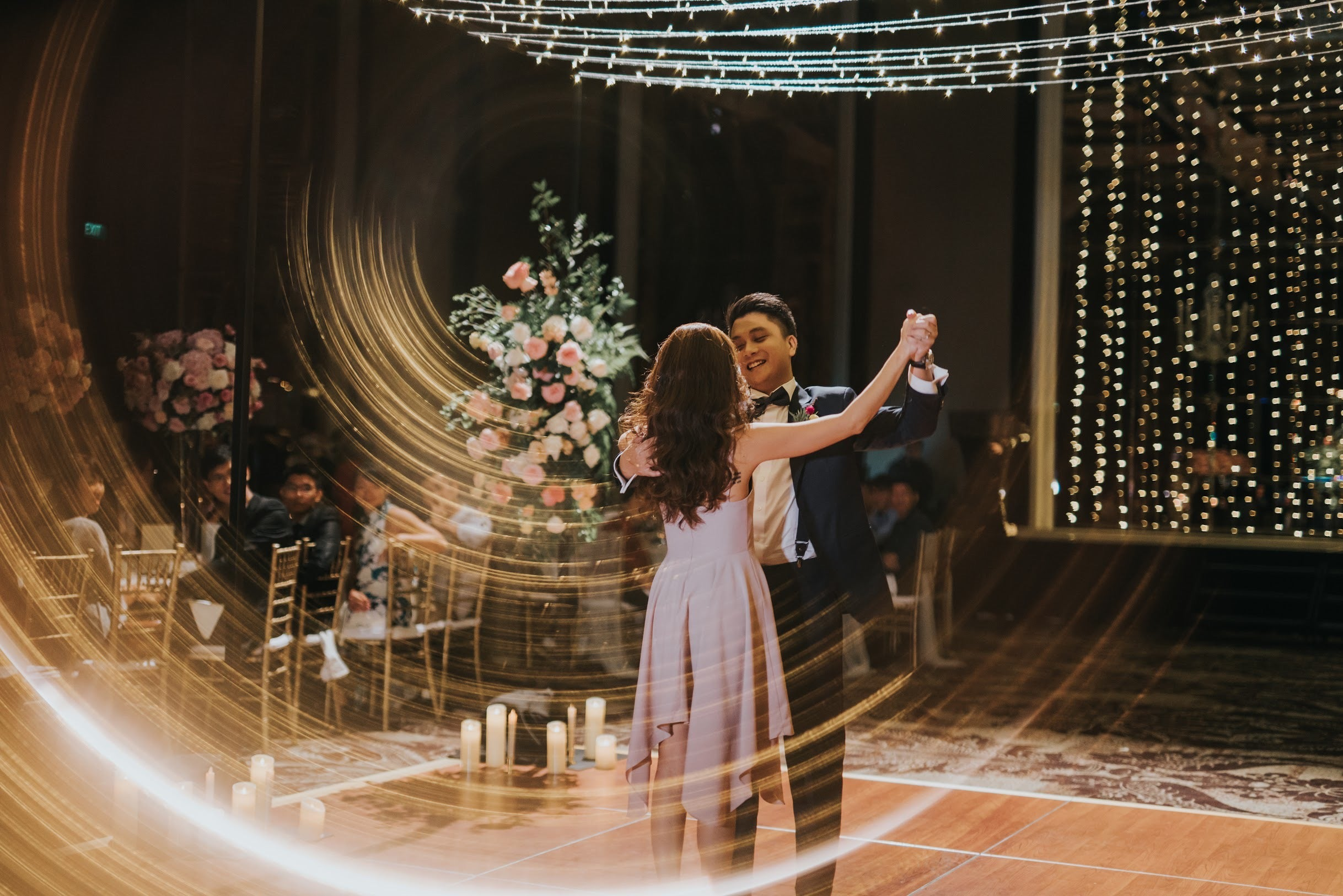 St Regis ballroom dancing lesson for wedding guests by wedding couple