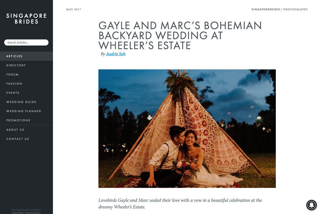 Singapore Brides Feature - Gayle & Marc (Bucket Full of Roses)