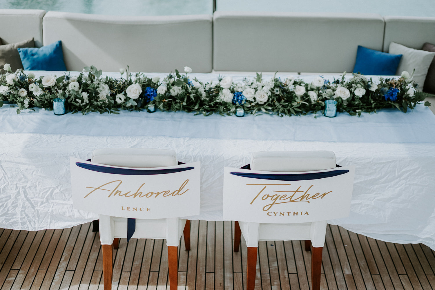 Chairs with Anchored Together text