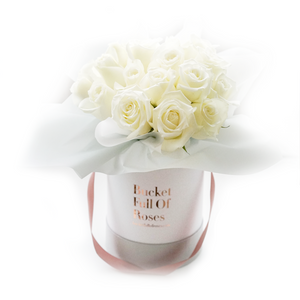 Classic Roses Bucket - White
