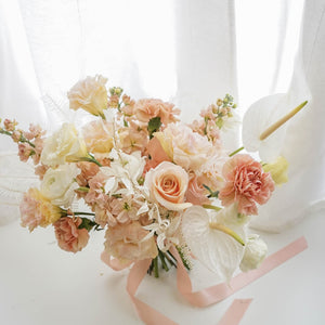Pastel Bridal Bouquet with Fresh & Dried Flowers