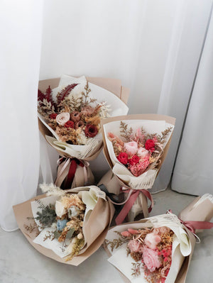 Scissors Paper Flower - Preserved & Dried Flower Wrapped Bouquet Arrangement Workshop 28th April 2020