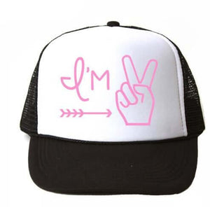 I'M TWO TRUCKER HAT PINK
