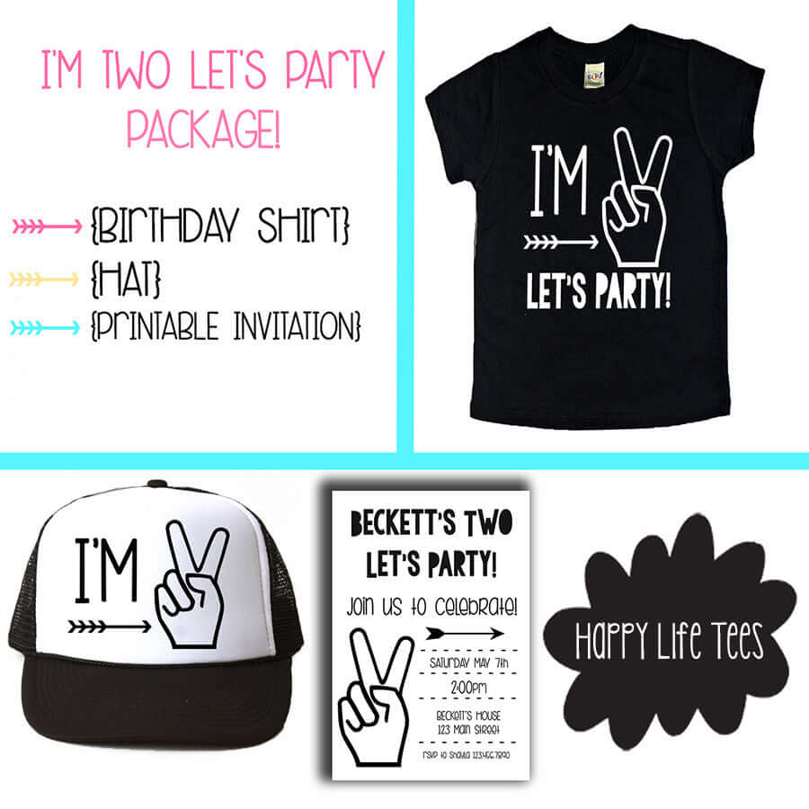 LETS PARTY TEE, HAT & INVITATION BUNDLE Ages 1-5