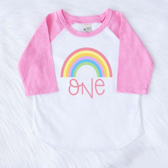 RAINBOW FIRST BIRTHDAY RAGLAN