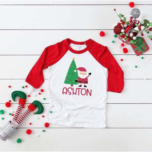Santa's Coming customizable raglan