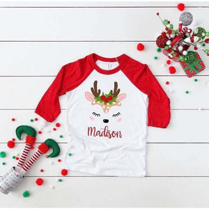 Holly jolly deer customizable raglan