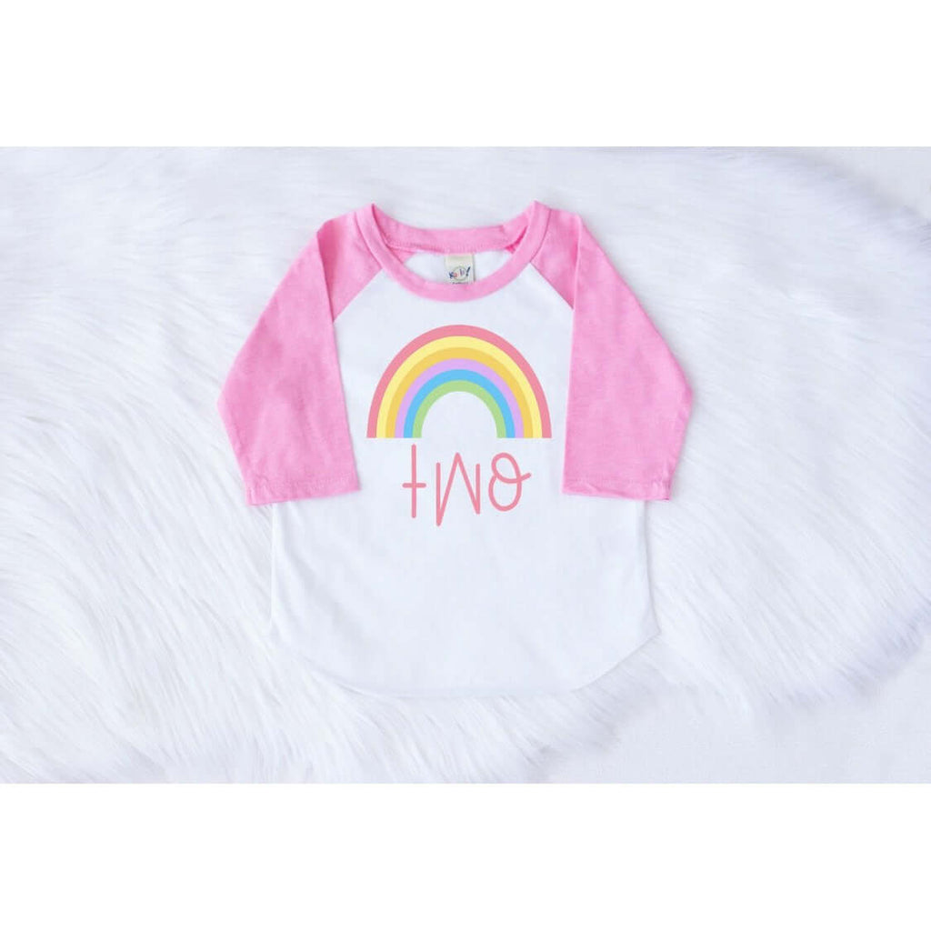 RAINBOW SECOND BIRTHDAY RAGLAN