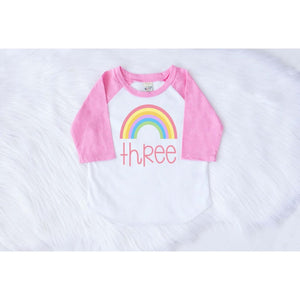 RAINBOW THIRD BIRTHDAY RAGLAN