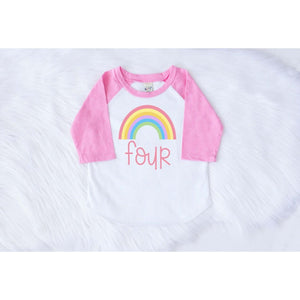 RAINBOW FOURTH BIRTHDAY RAGLAN