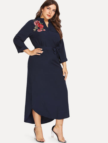 Plus Self Tie Waist Dip Hem Floral Dress