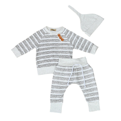3pcs Newborn Kid Baby Boy Girl Clothes Stripe