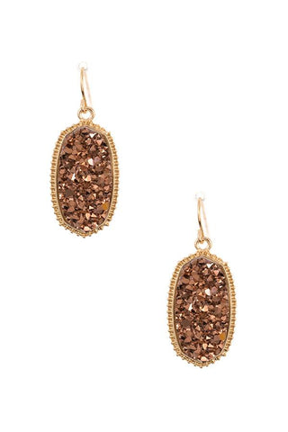 Faux cracked oval dotted framed dangle earring