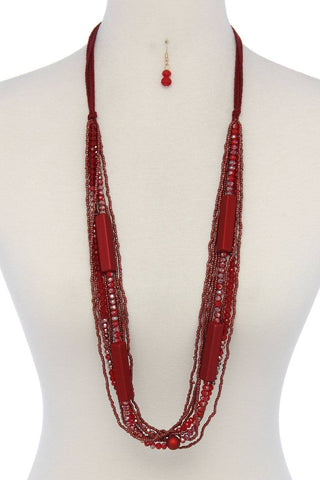 Beaded multi stand necklace