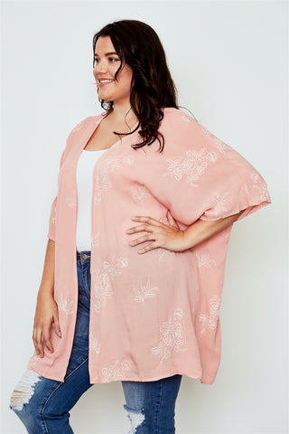 Plus Size Coral Open Front Floral Embroidered Kimono