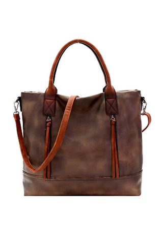 Brushed Texture 2 Way Multi Pocket Tote