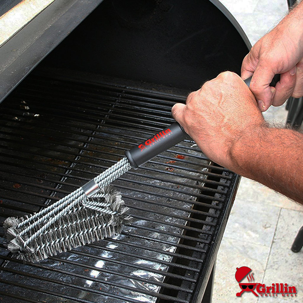 "Grillin Chill Gear 18"" BBQ Grill Brush - Rust Proof Stainless Steel Woven Wire-Safe for Porcelain, Ceramic, Steel Grates - Durable, Effective, Fast Barbecue Cleaning - Great Grilling Accessories"