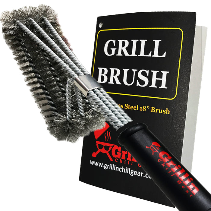"18"" BBQ Grill Brush - Stainless Steel Woven Wire - Super Fast Cleaner - Safe for All Grates"