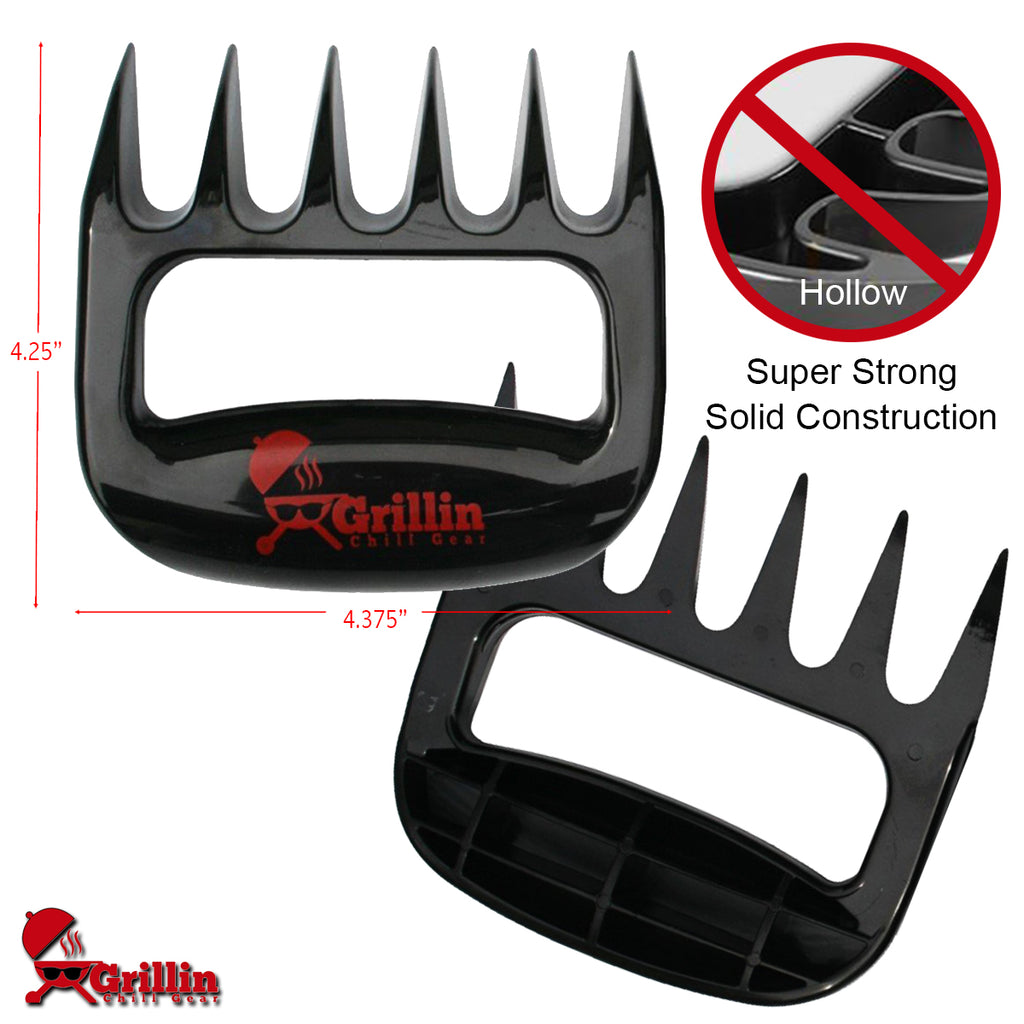 Grillin Chill Gear Meat Claws - Best Bear Claw Pulled Pork Meat Shredders in BBQ Grill Accessories - FREE Bonus Temp Guide - Dishwasher Safe - Premium Quality Grilling Handler Carving Fork - Set of 2