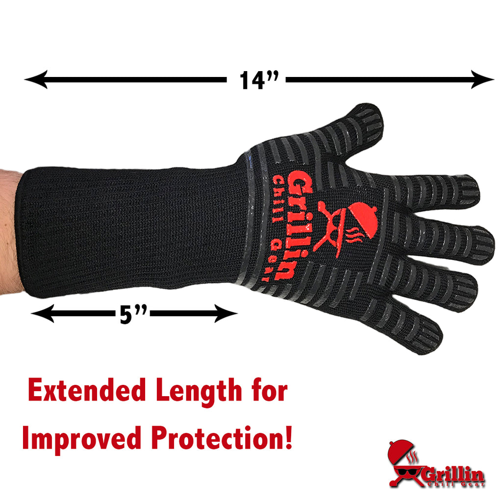 "XL BBQ Grilling Gloves by Grill & Chill - 932°F Extreme Heat Resistant Oven Mitts For Cooking, Baking, Frying - Xlong (15"") Provides Best Forearm Protection - FREE Meat Smoking Temperature Guide"