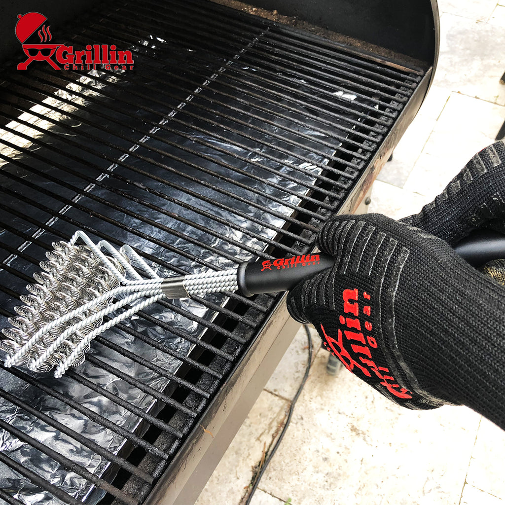 Grillin Chill Gear Bristle Free Safe Grill Brush – 100% Rust Resistant, Professional Heavy Duty Stainless Steel Grill Cleaner Safe For Porcelain Ceramic, Iron, Steel – Great Grilling Accessories Gift