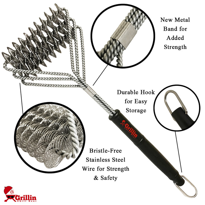 Bristle Free Safe Grill Brush –100% Rust Resistant, Professional Heavy Duty Stainless Steel Cleaner