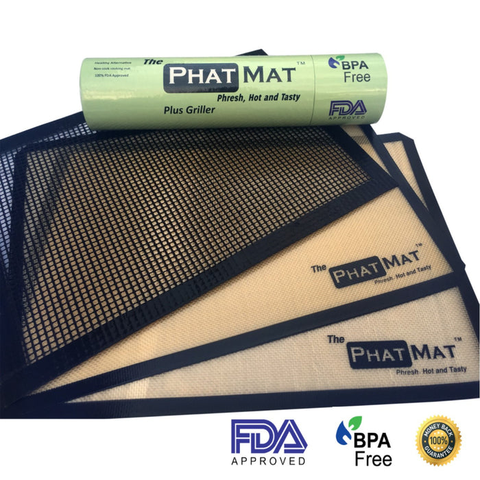 The PhatMat Premium Silicone Baking Mat Plus Grill Mesh for Healthy Cooking from Half Sheet Mat