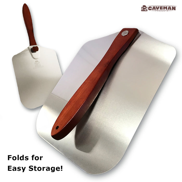 "Metal Pizza Peel - Folding Wood Handle for Easy Storage - 12""x 14"" Aluminum Paddle inc Beveled Edge"