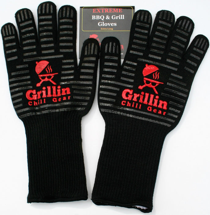 "BBQ Grill Gloves (XL) - 932°F Extreme Heat Resistant For Cooking, Baking, Fires - 15"" Long Forearm"