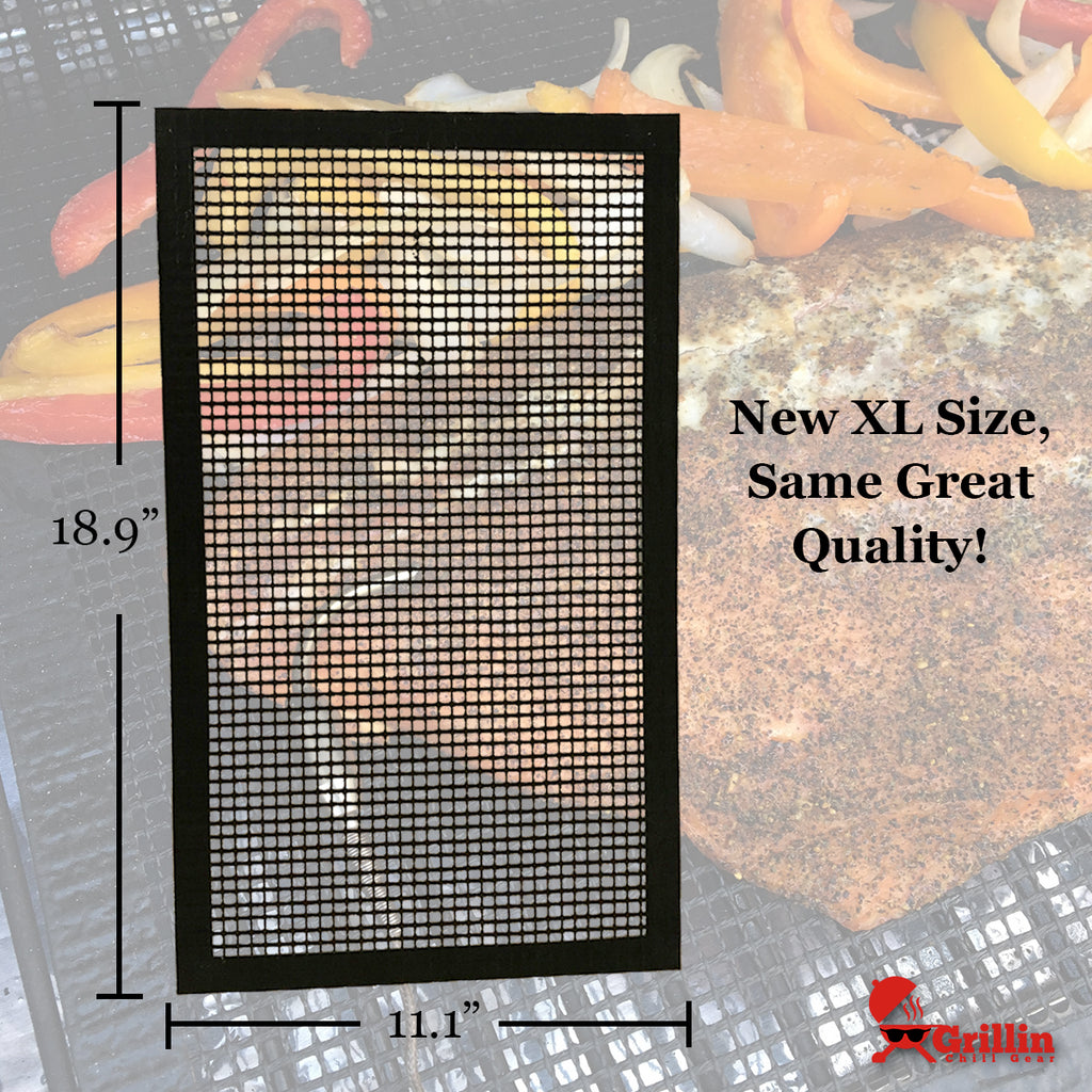 "PhatMat Non Stick Grill Mesh Mats XL (2 pk) - Heavy Duty BBQ Grilling Accessories for Traeger, Green Mountain & Oven - 19"" x 11"" - Includes FREE Meat Smoking Temperature Guide"