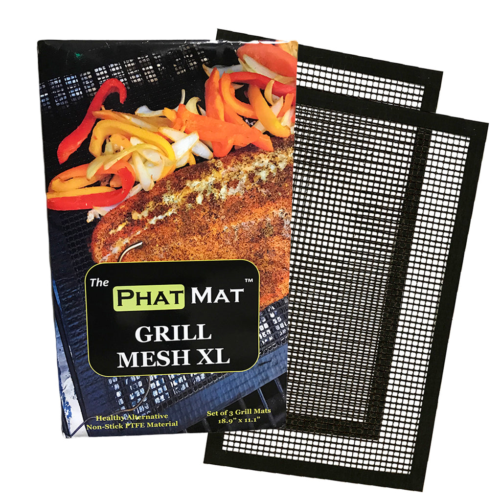 "Phat Mat Non Stick Grill Mesh Mats XL (2 pk) - Heavy Duty BBQ Grilling Accessories for Traeger, Green Mountain & Oven - 19"" x 11"" - Includes FREE Meat Smoking Temperature Guide"