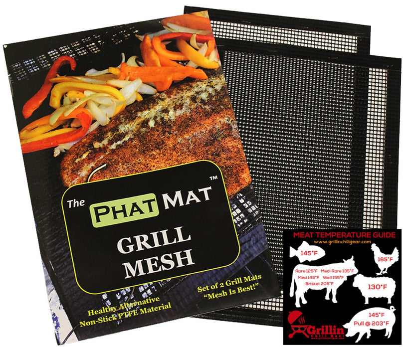 "PhatMat Non Stick Grill Mesh Mats (2 pk) - 16""x11"" Heavy Duty for Traeger, RecTec, Green Mountain"